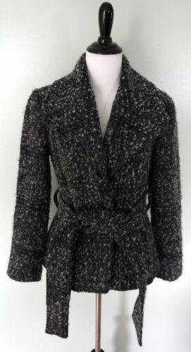 ZARA Basic Black Gray Belted Wool Blend Textured W