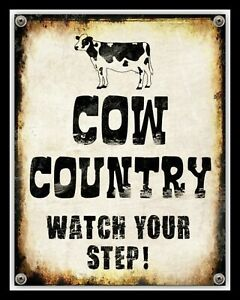 COW-COUNTRY-WATCH-YOUR-STEP-CATTLE-FARM-MANURE-FARMER-METAL-PLAQUE-TIN-SIGN-2349