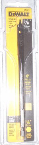 "Dewalt DW1572 3//8/"" Spade Drill Bits 6/"" Long 1//4/"" Hex Drive"