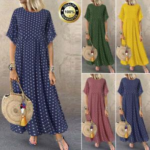 Summer-New-Womens-Short-Sleeve-Boho-Party-Casual-Kaftan-Maxi-Dress-Long-Dresses
