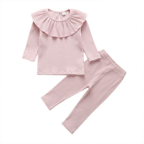 Toddler Kids Clothes Baby Girls Ruffle Sweatshirt Outfit Top Pants Tracksuit Set