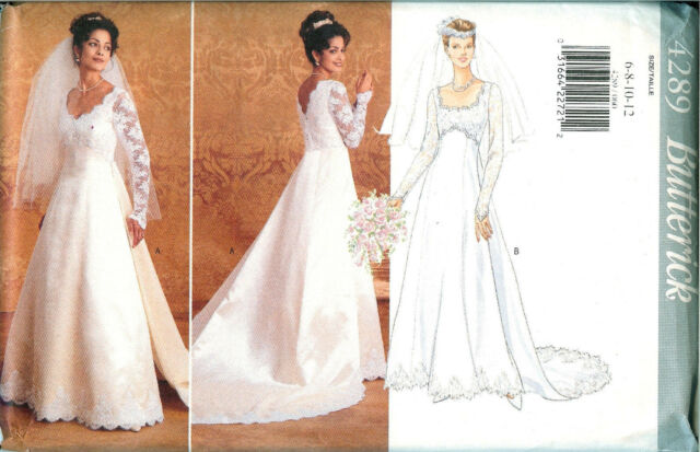 Retro Butterick Wedding Dress Train Pattern 4289 Size 14 16 18 Bust