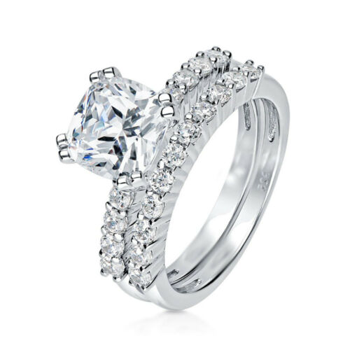 Sterling Silver 925 Women/'s CZ Round Cut Engagement Ring Wedding Band Set 5-10