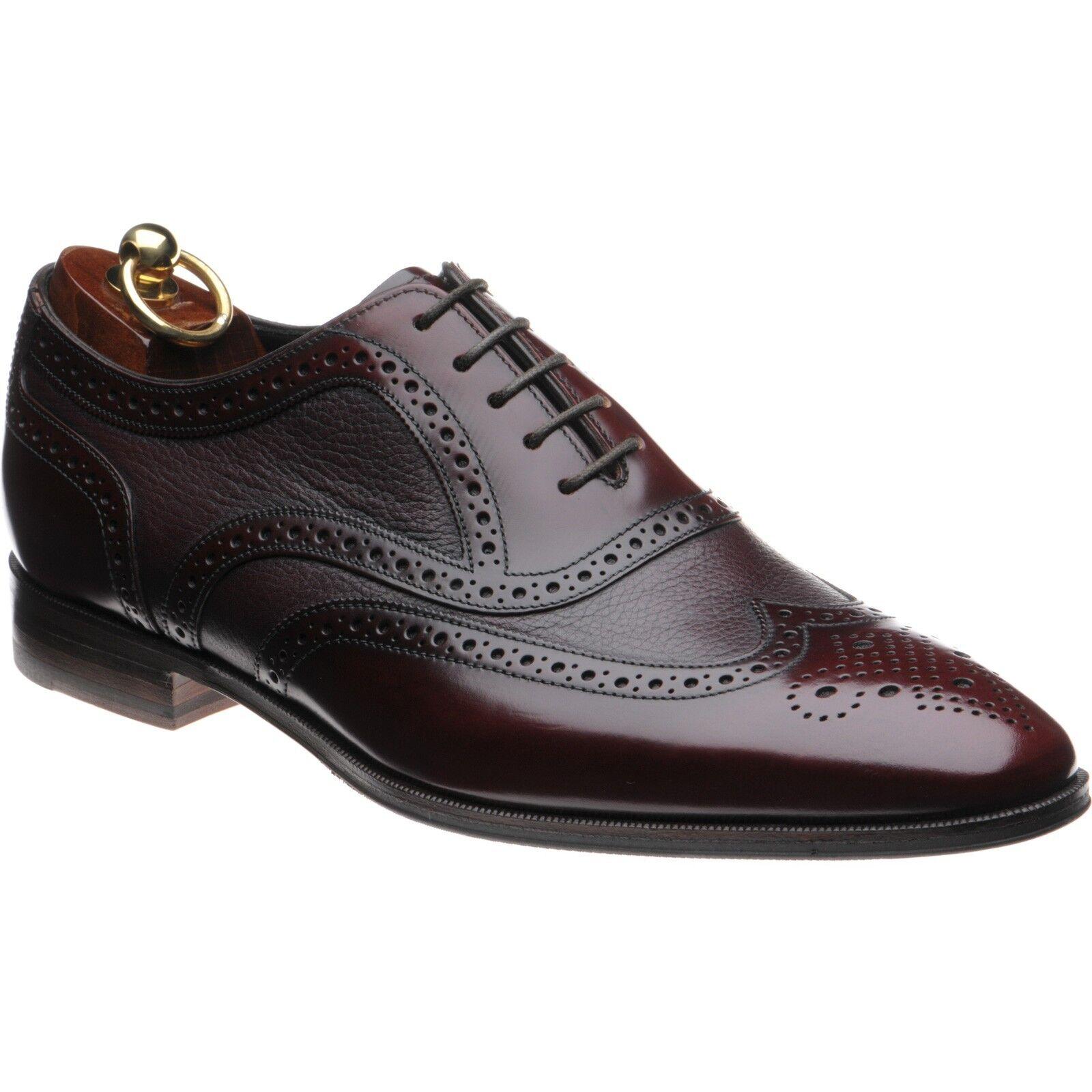 Zapatos De Cuero nuevo Y Sellado Loake 'Baskerville' Oxford Borgoña 8 Reino Unido 42-Wide Fit