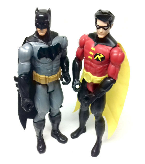 DC Comics BATMAN  & ROBIN Large 12  poseable toy action figure set NICE