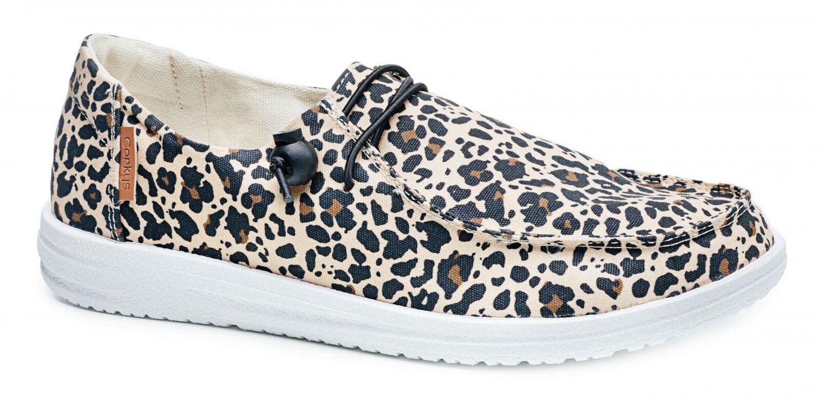 Corkys Womens Kayak Casual Slip On Sneakers, Leopard