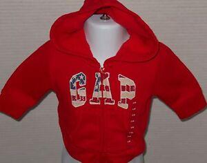 d4f3a0dba BABY GAP Red American Flag Logo Hoodie Sweatshirt Jacket Size 6-12 ...