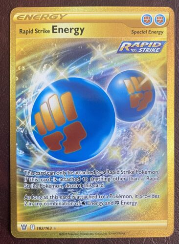 Pokemon Battle Styles Rapid Strike ENERGY 182/163 - GOLD SECRET RARE
