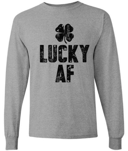 Men/'s Lucky AF  Long Sleeve Shirts Tops Lucky Green  Long Sleeve Shirts Tops
