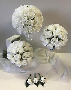 Silk fake wedding flowers weddings bouquet white rose flower roses image is loading silk fake wedding flowers weddings bouquet white rose mightylinksfo