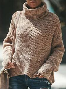 Relax-Fit-Loose-Chunky-Knit-Turtleneck-Knitted-Sweater-Jumper-Knitwear-Outwear