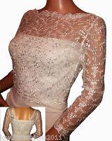 Ladies Ivory / White Bridal Lace Bridal 3/4 Sleeve Bolero/jacket Sizes 8 To 18