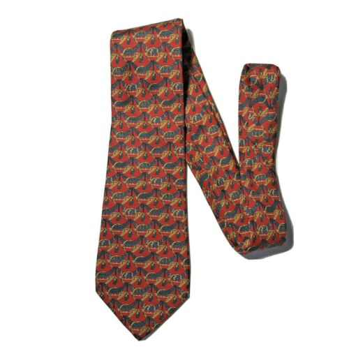 Salvatore Ferragamo Mens Tie 100% Silk Red/Gold Vi