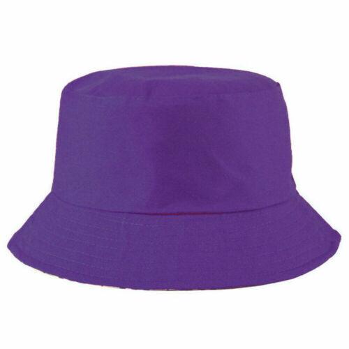 Childrens Bush Hat Boys Girls Colours Cotton Summer Sun Bucket Cap New Plain UK