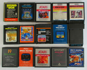Lot-x15-Atari-Games-E-T-VIDEO-PINBALL-QUICK-STEP-WIZARD-OF-WOR-SPACE-SHUTTLE