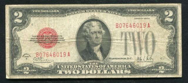 FR. 1503 1928-B $2 RED SEAL LEGAL TENDER UNITED STATES NOTE KEY SERIES VERY FINE
