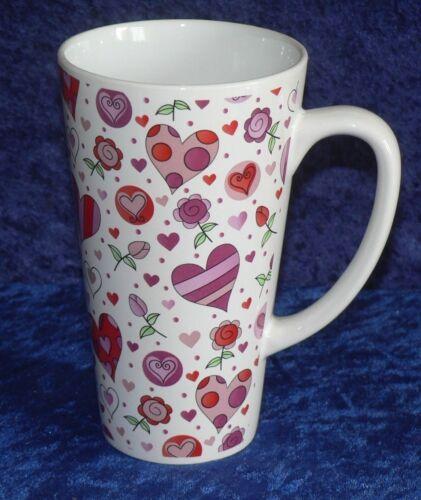 Pink /& red love hearts ceramic large latte mug 3//4pt capacity shabby chic design