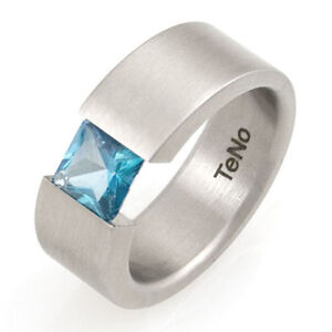TeNo-Ring-Gr-18-56-Edelstahlring-Spannring-1-blue-Topas-0-92ct-Damenring-Schmuck