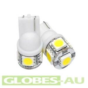 5x-12V-LED-T10-WARM-WHITE-LIGHT-Cabinet-Camper-Bulb-Globe-Garden-Wedge-5-SMD-Car