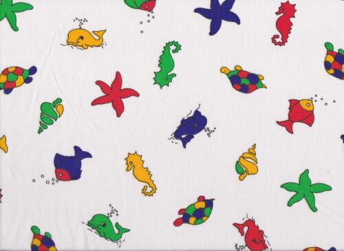 White Sea Shore Print Polycotton Fabric