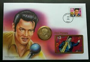 [SJ] USA Elvis Presley 1995 Singer Artist Rock FDC (coin phonecard stamp cover)