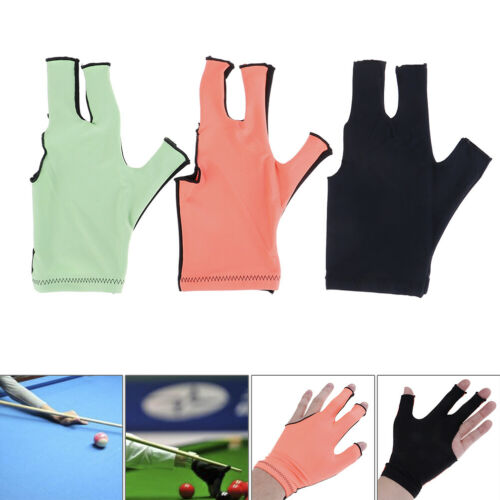 Lycra Fabric Snooker Billiard Cue 3 Finger Gloves Pool Left Hand Open AccRGRVR