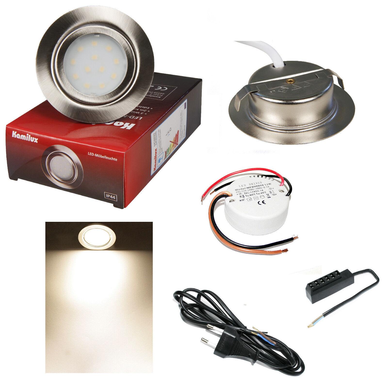 Led Lámpara Empotrable para Muebles 12V Mobi 3W=30W blancoo Cálido Incluye