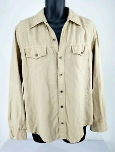 Ag-Adriano-Goldschmied-Mens-Khaki-Linen-Long-Sleeve-Button-Up-Shirt-Size-M