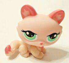 Littlest Pet Shop Pink Kitten Crouching Cat Green Eyes #1345 Preowned LPS