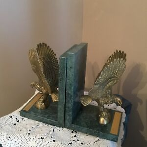 Mid-Century-Modern-HEAVY-EAGLE-BRASS-BOOKENDS-WITH-MARBLE-ISAIAH-40-31-VERSE