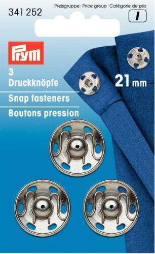 3 Boutons-pression Argent 21 mm De Prym 341 252