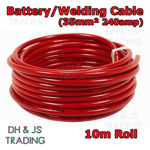 10m Red Battery Welding Cable 35mm² 240a Flexible Marine 0AWG 0 Gauge Power OFC
