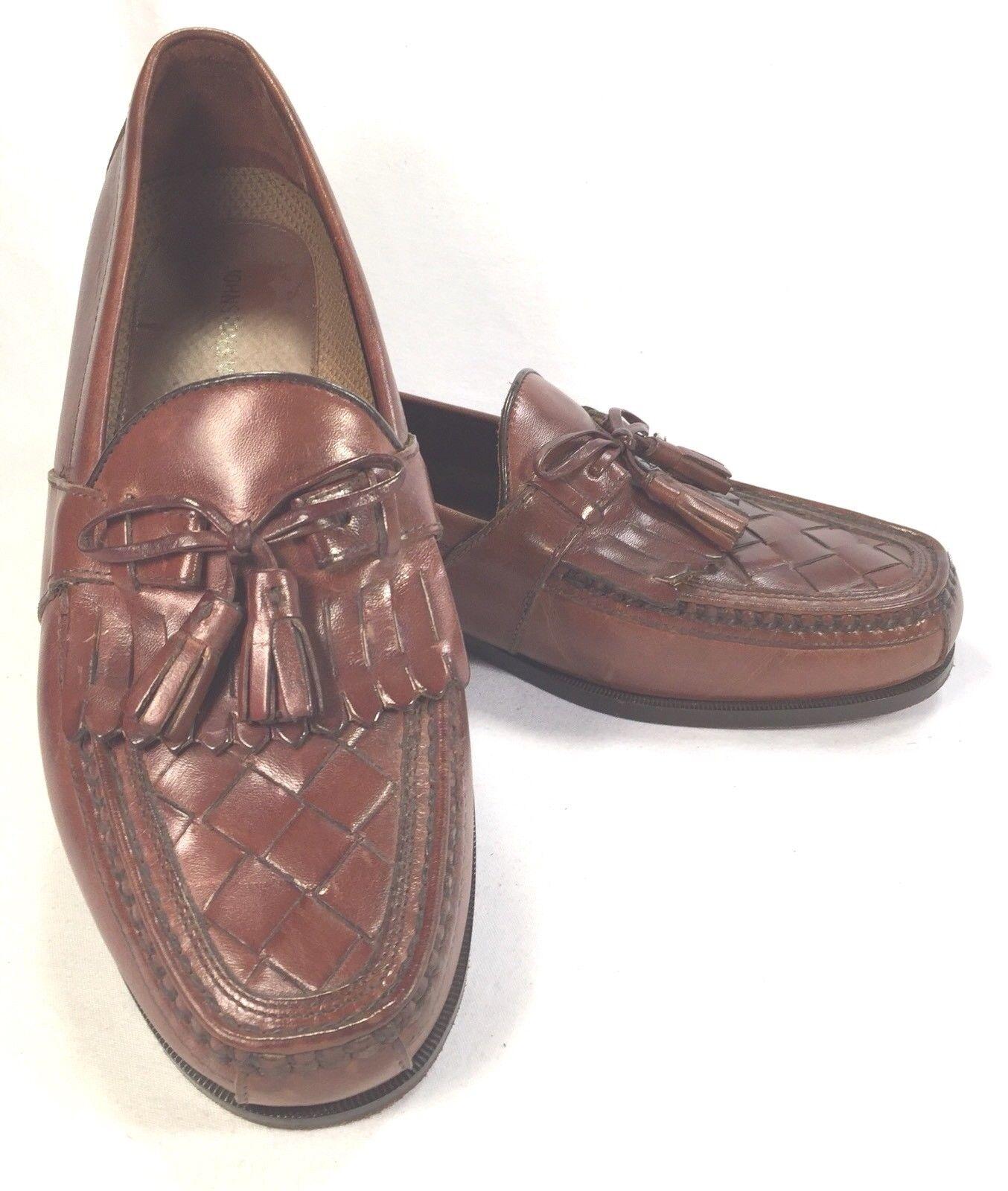 Johnston & Murphy Tassel Kiltie Loafers Weave Top Opera Cognac Brown Sz 9M