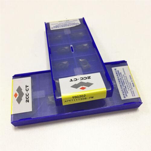 10Pcs ZCC.CT APKT11T308-PM YBG202  NEW carbide inserts