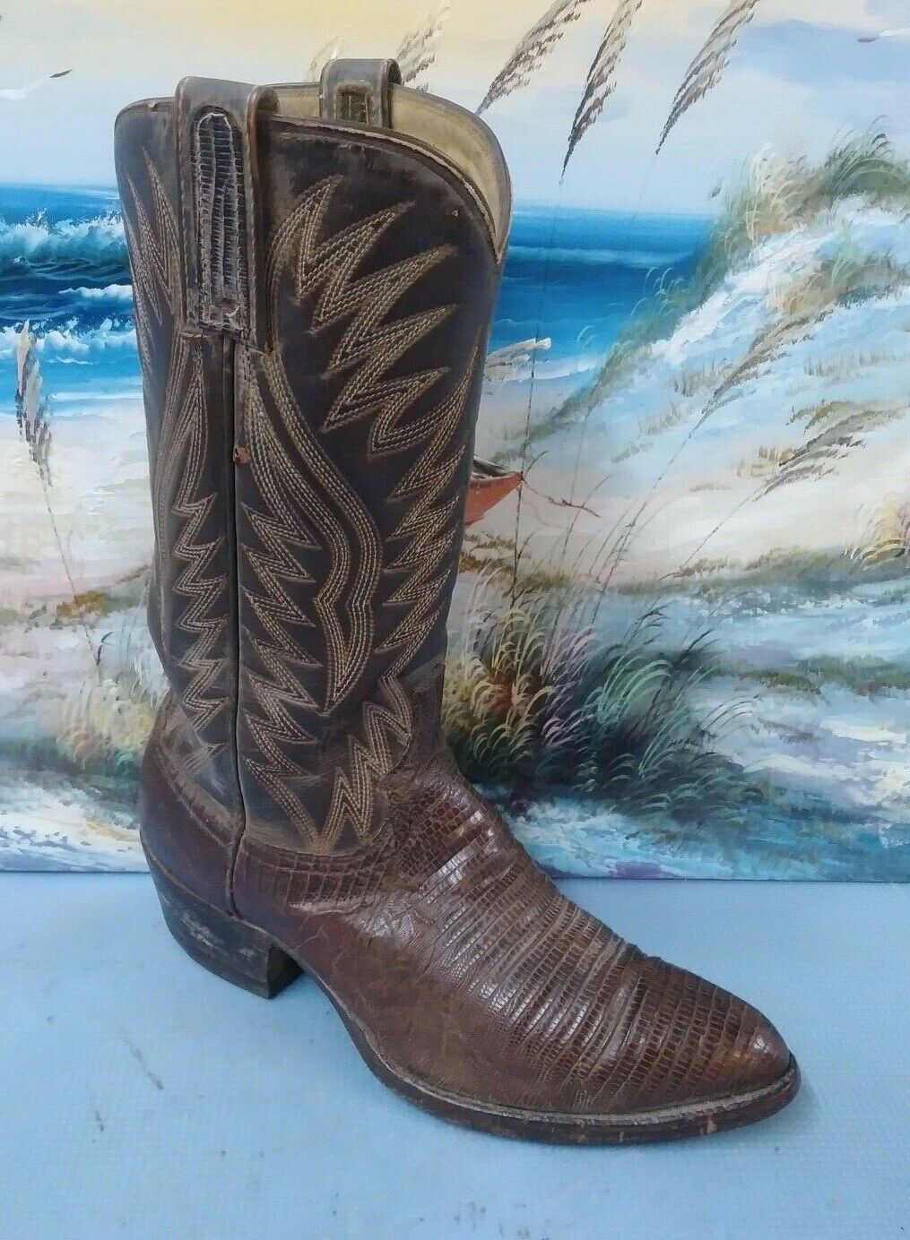 Womens Dan Post Genuine Lizard Skin Western Cowboy Boots Brown 8 D