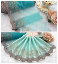 """7""""*1Y Embroidered Tulle Lace Trim~Misty Turquiose+Taupe+Light Chocolate~SALE~"""