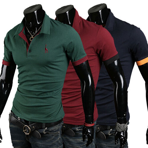 New Fashion Casual Deer Embroidery Short sleeve Polo shirt men's clothing
