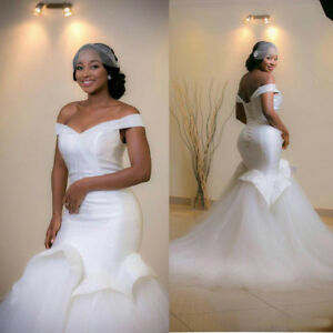Details about New Plus Size Beads Ruffle Off Shoulder Mermaid Wedding Dress  Bride Bridal Gown