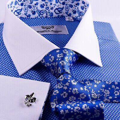 Mens Blue Formal Business Dress Shirt Contrast Cuff White Collar Luxury Oxford | eBay