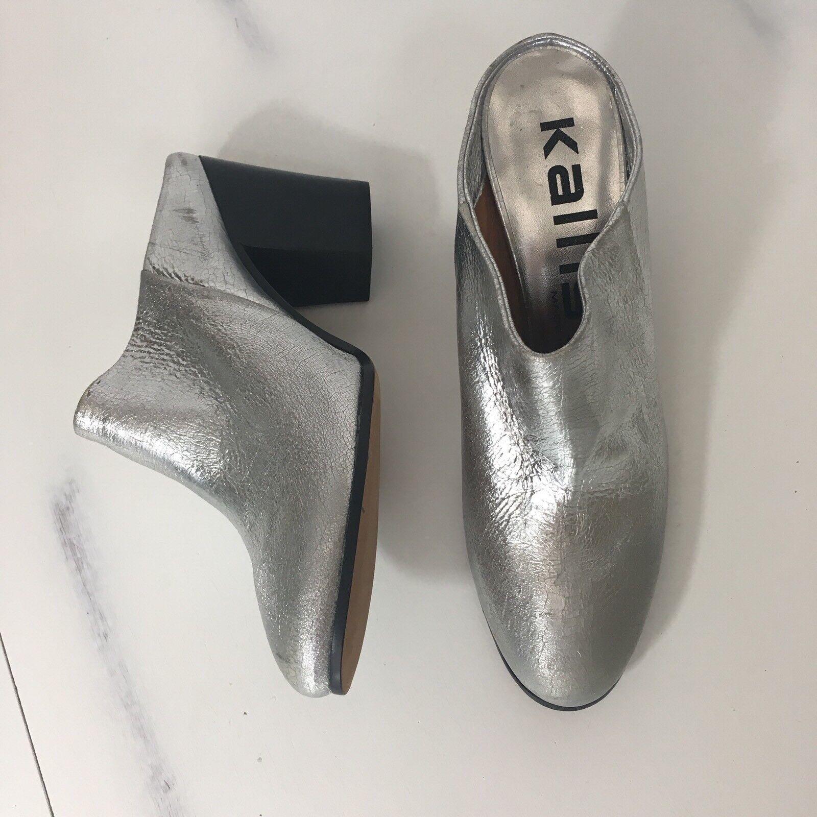 Kalliste Womens Metallic Silver Backless Boots Booties Slip ons size US 7 Eur 37
