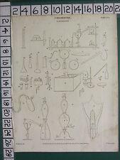 1812 DATED ANTIQUE PRINT ~ CHEMISTRY LABORATORY VARIOUS EQUIPMENT APPARATUS