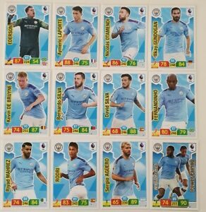 2019-20-Manchester-City-Team-Set-Soccer-Cards-Panini-Adrenalyn-EPL-12-cards