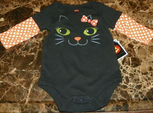 """NEW"" Black Cat HALLOWEEN Infant CREEPER BODYSUIT Sz NB 3M Costume LONG SLVE"