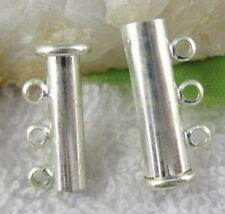 10PCS Silver Plate Magnet Clasps 3-Strands End Bar W7106