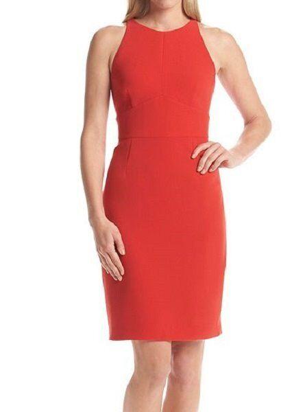 Calvin Klein Red Womens Size 4 Open Back Hater Seamed Sheath Dress