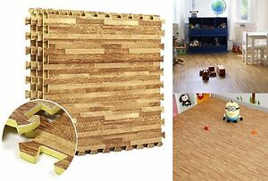 Wood effect interlocking eva mats gym exercise kids play floor foam