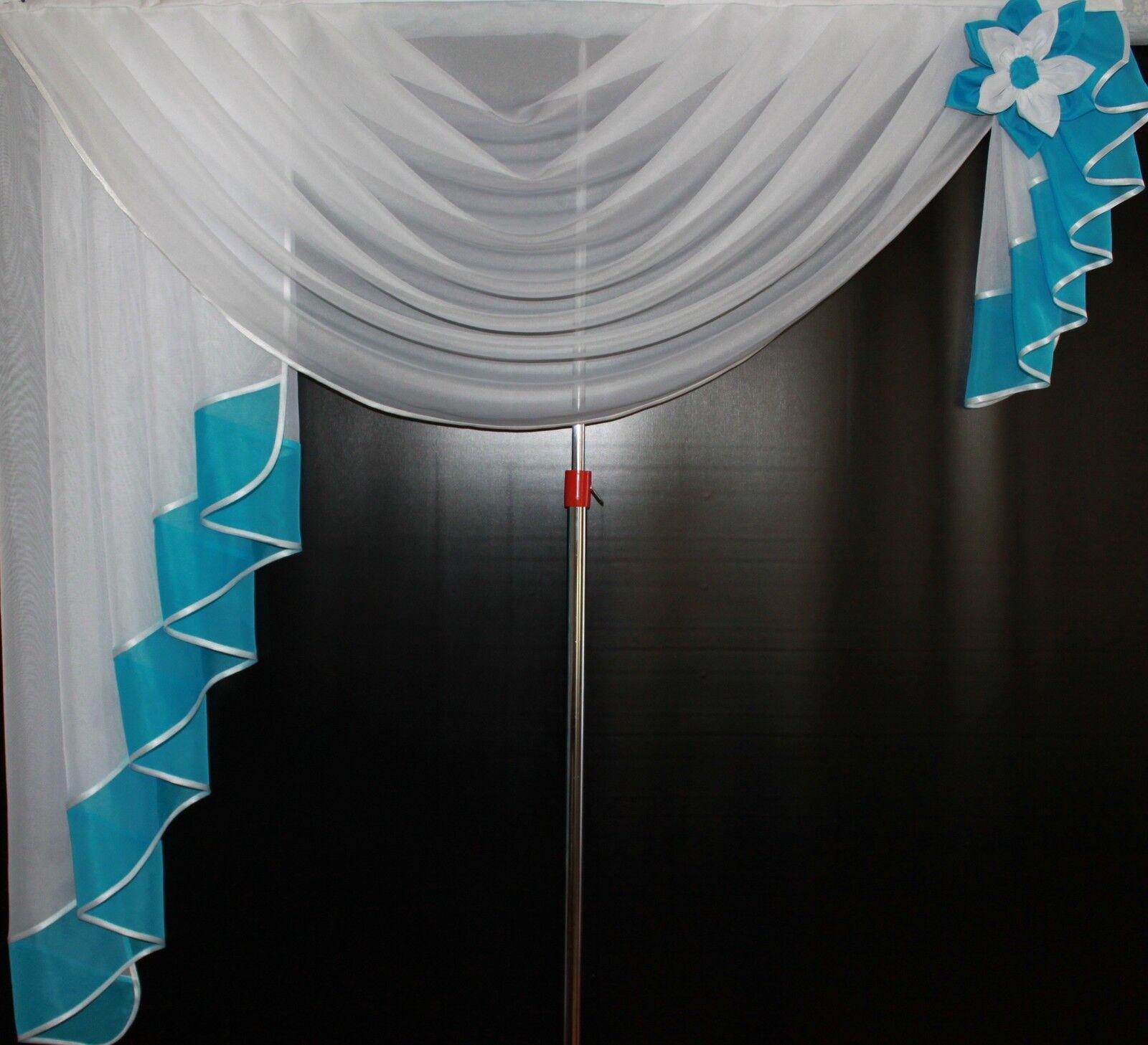 Deko - Gardine, Store, Vorhang in der der der Farbe  weiss   türkis | Schön  75aea9