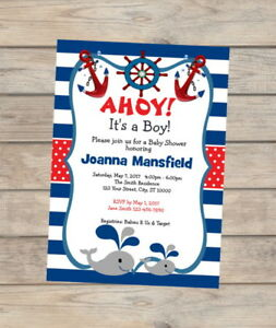 Image Is Loading Nautical Baby Shower Invitation Baby Whale Navy Stripes
