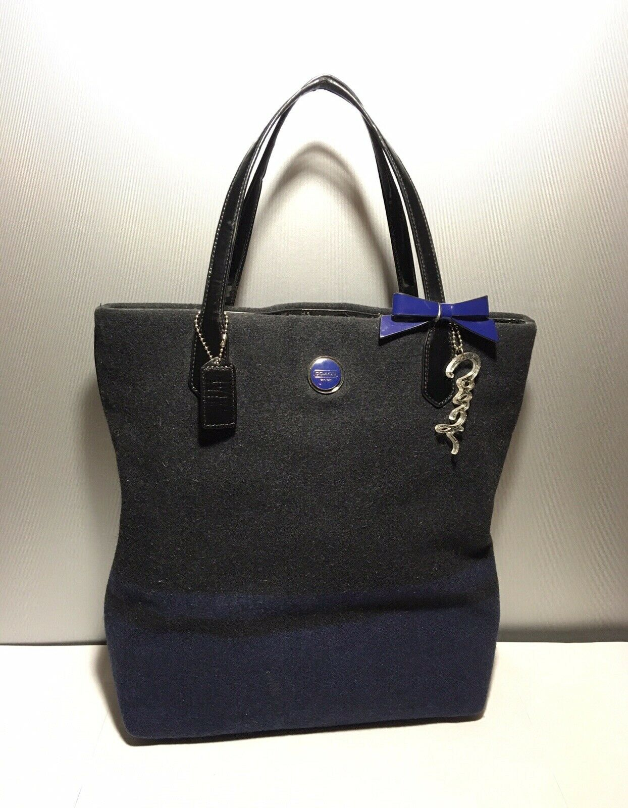 1 Day Ship Vgc Coach F24665 Charcoal Blue Wool North South Shoulder Tote Purse