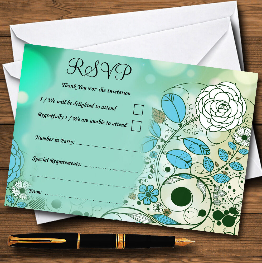 Aqua Turquoise Bird Personalised Wedding or Party RSVP Cards